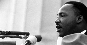 Martin Luther King während seiner 'I have a dream'-Rede am 28. August 1963 in Washington - Copyright: Wikimedia Commons
