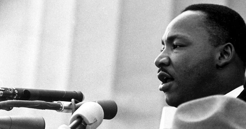 "Martin Luther King während seiner ""I have a dream""-Rede am 28. August 1963 in Washington"